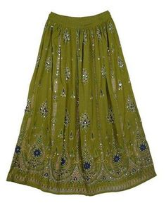 Long Olive Green Crinkly Fabric Tribal Boho Gypsy Skirt w. Sequins | artisansofindia - Clothing on ArtFire