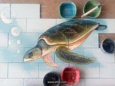"""Turtle on pool ceramic tile design"" Exterior Design, Interior And Exterior, Swimming Pool Tiles, Tile Panels, Tile Projects, Handmade Tiles, Hotel Lobby, Decorative Tile, Tile Patterns"