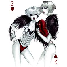 Connie Lim's Fashion Playing Cards Series ❤ liked on Polyvore featuring drawings, backgrounds, sketch, art and fillers