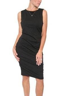Women's Nicole Miller Ponte Sleeveless Tuck Dress in Black --- http://helpn.us/wx