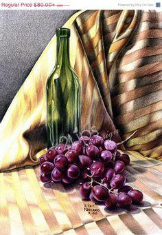 "Fine Art Print of an original still life in Colored Pencil - ""Gold & Grapes"""