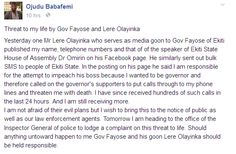 Welcome to St. Zion's Blog: Ekiti Senator alleges threat to his life by Govern...
