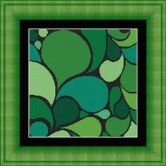 ABSTRACT art green/ art abstrait   -Counted cross stitch pattern /grille point de croix ,Cross Stitch PDF, Instant download , free shipping sur Etsy, 4,00€
