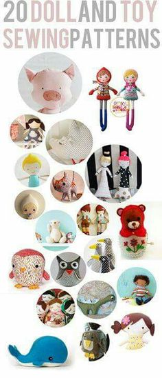 20 toy and doll patterns! http://seekatesew.com/20-doll-toy-patterns-to-sew/