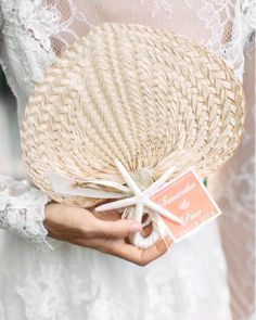 A beachside wedding has so much to offer: fun in the sun for both you and your guests and a magical backdrop. To add to the ambiance, we've pulled together some of our favorite beach-themed wedding ideas. Wedding Favors And Gifts, Summer Wedding Favors, Beach Wedding Reception, Wedding Shower Favors, Nautical Wedding, Wedding Fans, Our Wedding, Wedding Ideas, Wedding Decorations