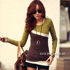 New Spring Autumn T Shirt Women Tops Lady Long Sleeve Contrast Slim Fitted T-Shirt Casual Tee Shirt Blusas Feminino CL1736