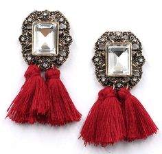 Pendientes piedra y flecos Rojo via Jewelcloning. Click on the image to see more!