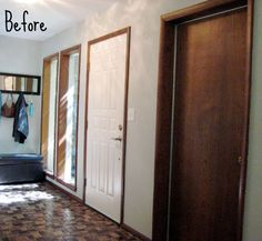 Before And After Pics Of Painting Trim White I Want To Do This I How To Paint Trim White My Method For Painting My Whole Home Myself Painting Wood Trim…Read more of Painting House Trim White Painting Over Stained Wood, Stained Wood Trim, Painting Wood Trim, Painting Baseboards, House Painting, Painting Molding, Spray Painting, Painted Interior Doors, Interior Trim