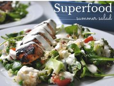 L lately: Superfood Summer Salad Superfood Salad, Summer Salads, Chicken, Meat, Recipes, Recipies, Summer Salad, Ripped Recipes, Cooking Recipes