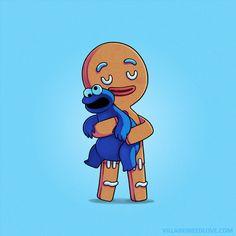 The Gingerbread Man [feat. Cookie Monster] (Drawing by Naolito @Facebook) #Shrek #SesameStreet