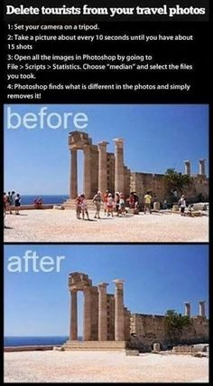 Removing people or object from photos. Photoshop