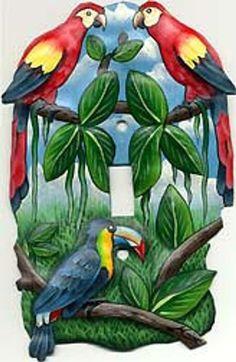 Tropical Parrot Design Light Switch Plate Cover - Hand Painted Metal - Painted Switch Plate Covers - Metal Switchplate Covers by SwitchPlateDecor Decorative Light Switch Covers, Switch Plate Covers, Light Switch Plates, Art Tropical, Tropical Design, Tropical Birds, Painted Metal, Hand Painted, Drums Art