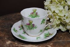 ROYAL ALBERT 1950s Highland Thistle Vintage Tea by HoneyandBumble, $23.00