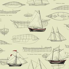Pond Yachts Wallpaper in Beige design by York Wallcoverings