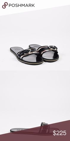 B U R B E R R Y. Slide Buckle Sandals Burberry black and multicolor patent leather open toe slide sandals with a silver-tone buckle. Size: 37 Made in: Italy Color: Black Fabric Content: Leather, Patent Leather Condition: Pre-owned. Slight exterior residue. Residue on sole. Slight scuffs/scratches. ♦️🔳🔳 Burberry Shoes Sandals