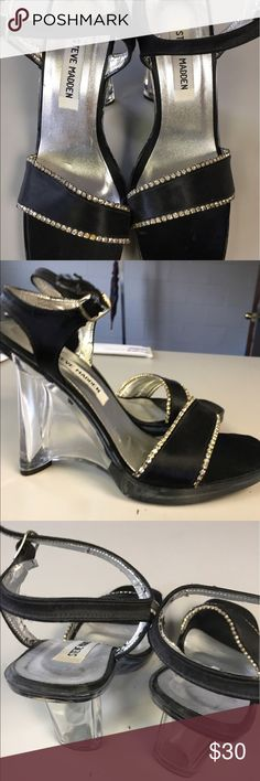 "Steve Madden party shoes size 7M Never worn Steve Madden size 7M party shoes. Clear lucite heel- 4 1/2"" Satin uppers lined with rhinestones. Steve Madden Shoes Platforms"