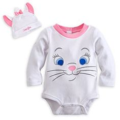 Marie Disney Cuddly Bodysuit Costume Set for Baby - Personalizable | Disney StoreMarie Disney Cuddly Bodysuit Costume Set for Baby - Personalizable - Your little kitten will never look cuter than when wearing this Marie Disney Cuddly Bodysuit Costume Set. The Aristocat's smiling face is embroidered on the front, and is topped with the coordinating cap with 3-D ears.