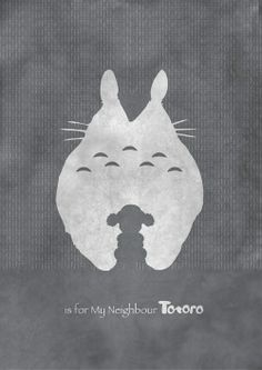 M is for 'My Neighbor Totoro'. Movie Friday: Alphabet Movie Posters by Meagan Highland #movies #ghibli #design #miyazaki