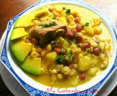 One of the most traditional recipes of Colombian soups, specifically from the Department of Santander Sopa de Mute or White Hominy Corn (Pozole) Soup Colombian Dishes, My Colombian Recipes, Colombian Cuisine, Mexican Food Recipes, Soup Recipes, Great Recipes, Cooking Recipes, Recipies, My Favorite Food