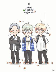 CBX <credits to owner> Exo Chanbaek, Baekhyun, Kpop Drawings, Cute Drawings, Exo Cartoon, Exo Anime, Exo Fan Art, Xiuchen, Anime Version