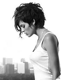Image result for black and white picture asymmetrical pixie cut