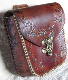 Medieval Leather Belt Pouch Brown Floral.