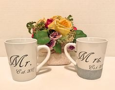 Mr and Mrs Mugs by EnchantingCreations7 on Etsy