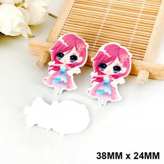 50 Pieces New Cartoon Red Hair Princess Flat Back Resin Kawaii Planar Resin DIY Crafts for Home Decoration Accessories DL-522