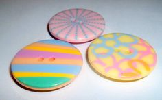 Magnets Set of 3 Pastel Button Magnets by waterflowingwest on Etsy, $5.00