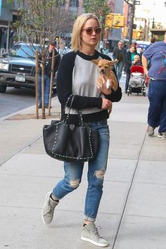 Jennifer Lawrence wearing Oliver Peoples Masek Sunglasses, Valentino Rockstud Rolling Bag with Turquoise Studs, Rag & Bone Kent Suede High Top Sneakers in Light Grey, Rag & Bone Amelia Pullover Sweater and AG the Ex-Boyfriend Jeans
