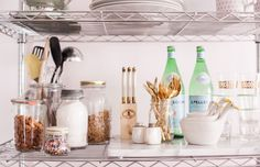 How to Style Wire Shelves for a Living Space and Kitchen #theeverygirl