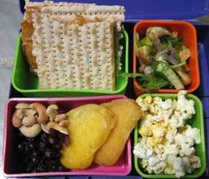 Menu        Cashew Butter and Apricot Jam on Matzo      Cashews      Dried Cranberries and Pears      Fennel Salad      Popcorn