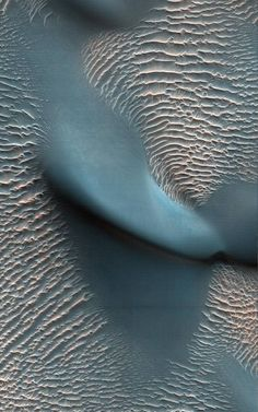 'Proctor Crater, Mars' | This view from the High Resolution Imaging Science Experiment (HiRISE) camera on NASA's Mars Reconnaissance Orbiter is of the Proctor Crater. The relatively bright, small ridges are ripples. From their study on Earth, and close-up examination by the MER rovers, scientists surmise that the ripples are composed of fine sand.