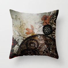 Pillow Cover, Steampunk Photo Pillow, Steampunk Botanical Home Decor, Vintage Clock Parts Floral Pillow, Living Room,Bedroom, 16x16 18x18 by KalstekPhotography on Etsy https://www.etsy.com/listing/156237623/pillow-cover-steampunk-photo-pillow