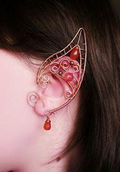 Autumn vine - elf ears, no piercing ear cuff, elven ear cuffs, copper jewelry, wire wrappped ear cuffs