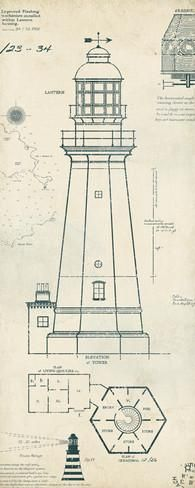 Lighthouse Plans IV Prints by The Vintage Collection - AllPosters.ca