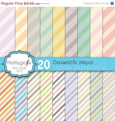 40% OFF SALE 20 creamsicle stripes digital paper pack, commercial use, scrapbook papers - PGPSPK611. $2.37, via Etsy.