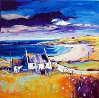 Summer croft on Barra Vibrant Colors, Colours, Building Art, Bottle Painting, Oil On Canvas, Canvas Paintings, Impressionism, Art Drawings, Gallery
