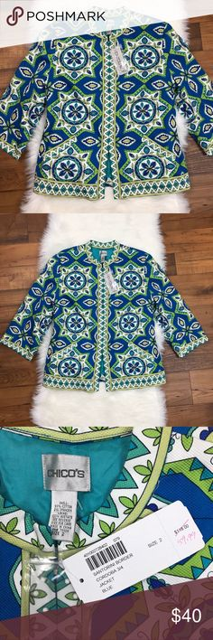 """NWT Chicos 3/4 Sleeve Blue Printed Beaded Jacket NWT Chicos Santorini Border Cordoba 3/4 Sleeve Blue Printed Beaded Jacket. Hook and eye Clasp. Regularly $118. Size 2. Armpit to armpit is about 21"""". Armpit to end of sleeve is about 11.5"""". The length of the jacket is about 25.5"""". Chico's Jackets & Coats"""
