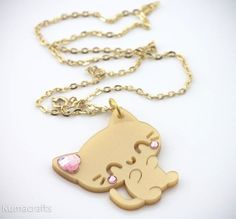 Pearlescent Gold Kitty Cat Pendant/Necklace Laser Cut Acrylic with Swarovski… Cat Necklace, Boho Necklace, Pendant Necklace, Kawaii Accessories, Jewelry Accessories, Cat Headband, Cat Ring, Dog Jewelry, Girly