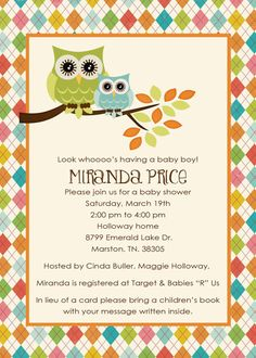 owl baby shower invitations with owls and argyle by katiedidesigns, $13.00