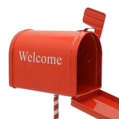 Miniatura Caixa de Correio Welcome Vermelho em Metal - 12,5x8 cm
