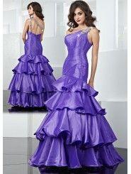 Taffeta Asymmetrical One-shoulder Alternating Vertical Pleated Bodice Long Prom Dress