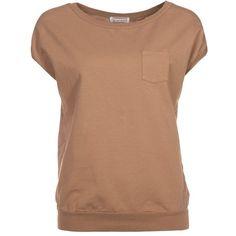 Ninamatita Basic Tshirt ($70) ❤ liked on Polyvore featuring tops, t-shirts, shirts, blusas, oberteile, brown, women's tops, t shirts, beige shirt and basic tee