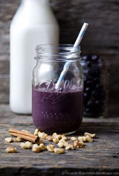 smoothies de proteínas nueces y blueberries