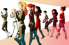 Kris Anka, via Project: Rooftop. From left to right: Maria Hill, Agent Agent 13, Bobbi Morse (Mockingbird), Black Widow, Spider Woman, Daisy Johnson, Victoria Hand and Contessa Valentina Allegra de Fontaine.