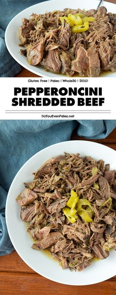 Pepperoncini Shredded Beef recipe - leave a beef chuck roast simmering in the crockpot all day and you'll be rewarded with this flavorful, rich shredded beef! This paleo recipe is a healthier take on Whole30 Beef Recipes, Recetas Whole30, Shredded Beef Recipes, Lamb Recipes, Paleo Menu, Cooker Recipes, Chuck Roast Recipes, Beef Chuck Roast, Whole 30 Recipes
