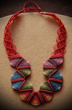 Macrame necklace red RAINBOW, via Etsy.