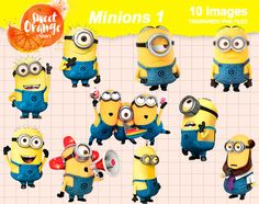 BIG SALE Minions Illumination Entertainment instant download, PNG background files by SweetOrangeClipart on Etsy