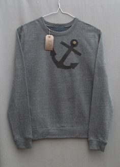 Leather Anchor Jumper Women's Grey Heather by BaggyFitted on Etsy